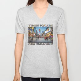Times Square Sparkle (with typography) Unisex V-Neck