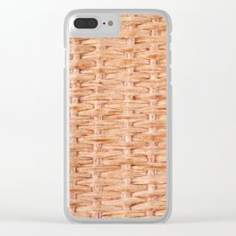 Beige interlace wooden texture abstract Clear iPhone Case