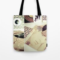 records Tote Bags featuring Old Records by INK Photos