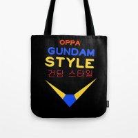 gundam Tote Bags featuring Gundam Style by Joynisha Sumpter