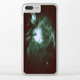 Dark Forest Green Teal Orion Nebula Clear iPhone Case