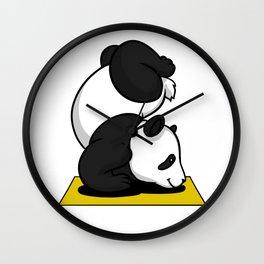 Cute Panda Bear Yoga Animal Wall Clock
