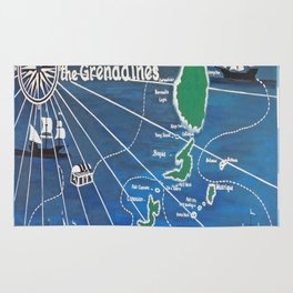 St. Vincent & Grenadines Sailing Map Rug