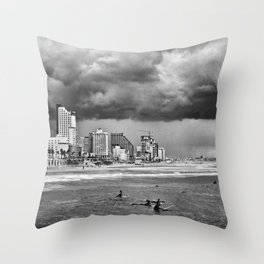 Surfers waiting for the wave, Tel-Aviv, israel Throw Pillow