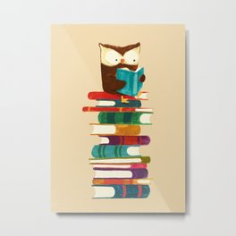 Owl Reading Rainbow Metal Print