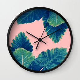 Greenery on Blush Wall Clock