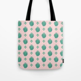 Striped Succulents in Pink Tote Bag