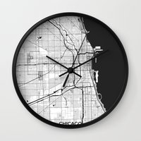 chicago map Wall Clocks featuring Chicago Map Gray by City Art Posters