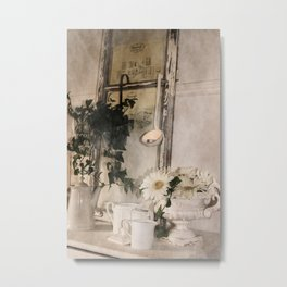 Shabby Charme Stillife with candle Metal Print