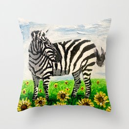 Stripes and Sunflowers Throw Pillow