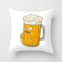Cute & Funny Foaming Beer with Mustache Throw Pillow