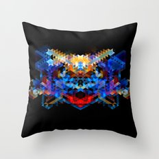 Red Beast Crowned in Blue Throw Pillow