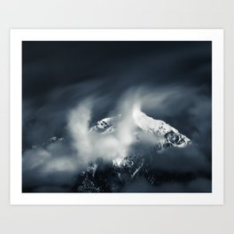 Darkness and chaos over the mountain Art Print