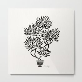 Bonsai Fruit Tree – Black Palette Metal Print