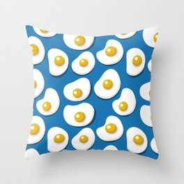 Fried eggs food pattern Throw Pillow