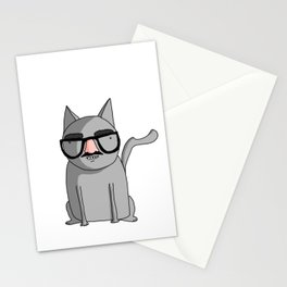 Cat with Groucho Glasses Stationery Cards