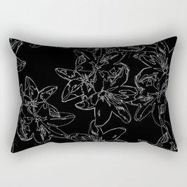black and white line art flowers Rectangular Pillow