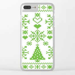 Christmas Cross Stitch Embroidery Sampler Green And White Clear iPhone Case