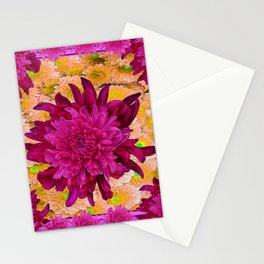 Stylized  Burgundy Purple & Yellow Chrysanthemums Floral Garden Stationery Cards