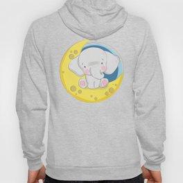 Baby Elephant On The Moon, Cute Little Elephant Hoody