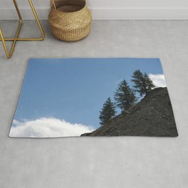 Fir Trees on Mountain Slope White Cloud Rug