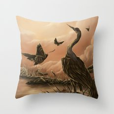 Crane and moth  Throw Pillow