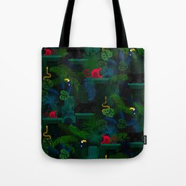 Animals in the jungle on the ruins Tote Bag