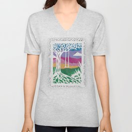 Sunset Swing Papercut Unisex V-Neck
