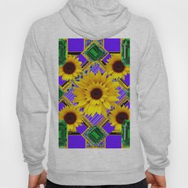 GREEN EMERALDS YELLOW SUNFLOWERS ART Hoody