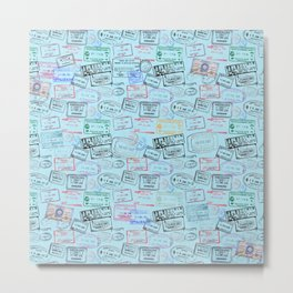 Worldly Traveler - Passport Pattern - Light Blue Metal Print