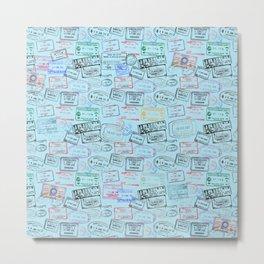 Worldly Traveler - Passport Pattern - Light Blue Metal Print