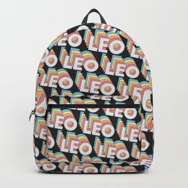 Leo Trendy Rainbow Text Pattern (Black) Backpack