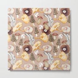 Mushroom Lovers Pattern Metal Print