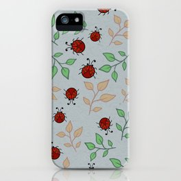 Lady Bug Leaf Pattern Art iPhone Case