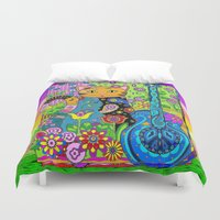 hippy Duvet Covers featuring Hippy Puss by SwanniePhotoArt