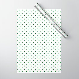 Small Green Polkadot Heart on Snow White Wrapping Paper