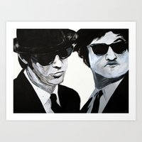 blues brothers Art Prints featuring Blues Brothers Painting by Megan Oliveri Designs