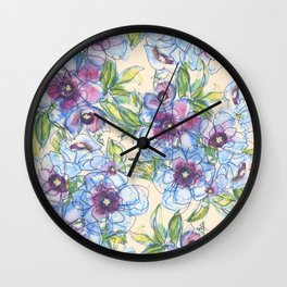 Big Blue Poppies Wall Clock