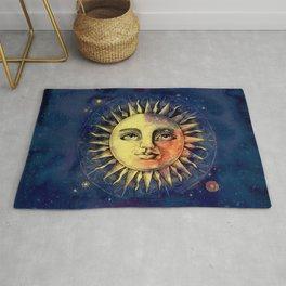 Celestial Antique Sun And Sky Watercolor Batik Rug