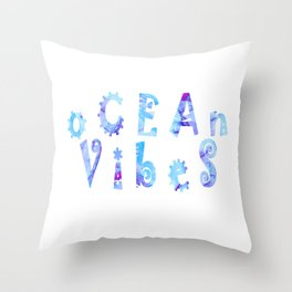 oCEAn VibeS | Tropical Cyan Teal & Magenta Watercolor Throw Pillow