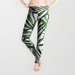 Watercolor simple leaves Leggings