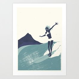 Surfer Girl in Blue Art Print