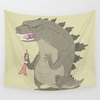 godzilla Wall Tapestries featuring Godzilla by Rod Perich