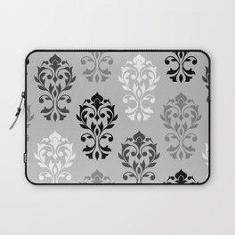 Heart Damask Art I Black White Greys Laptop Sleeve