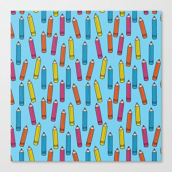 Pencil Party Blue Canvas Print