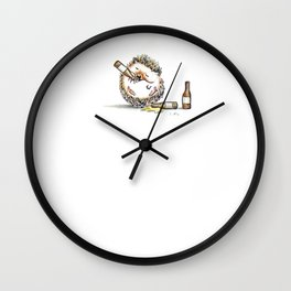 Drunk Hedgehog Wall Clock