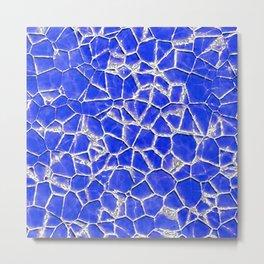 Blue broken glass texture Metal Print