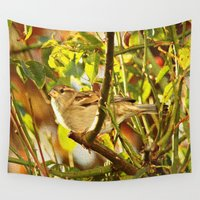 sparrow Wall Tapestries featuring Sparrow by Judy Palkimas