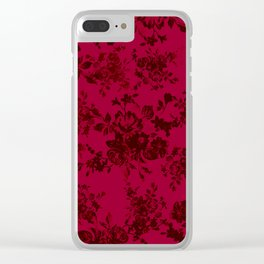 Vintage black gray red bohemian floral pattern Clear iPhone Case