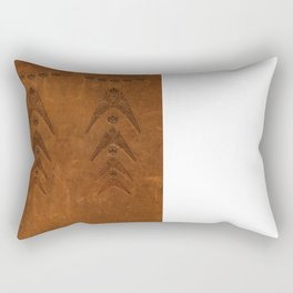 Embossed leather with metal inlay Rectangular Pillow